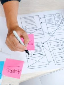 Drawing wireframes of a mobile application.